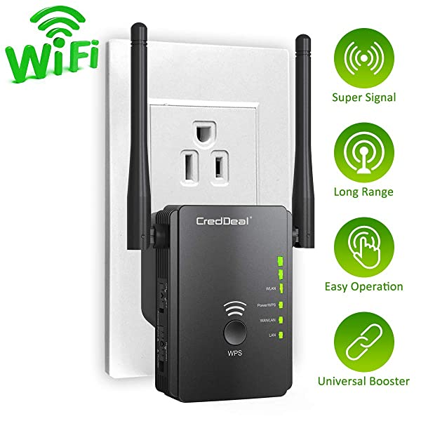 WiFi Range Extender with WPS Internet Signal Repeater- 300Mpbs Wireless Booster with 2.4GHz High Gain Dual Antennas, 2 Ethernet Ports -Compatible with