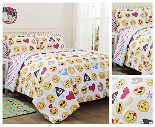 emoji-girls-complete-5-piece-reversible-bedding-comforter-set-twin-twin-xl