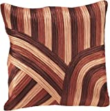 Shahenaz Home Shop Clove Tri Colour Heavy Poly Dupion Cushion Cover - Orange and Rust