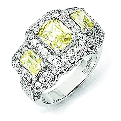 Sterling Silver Canary and White CZ 3-stone Ring - Ring Size Options Range: L to P