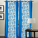 "Hargunz Eyelet Kolaveri Polyester Door Curtains - 84""x48"", Pack of 2 Curtain, Aqua (KS034-2-2)"