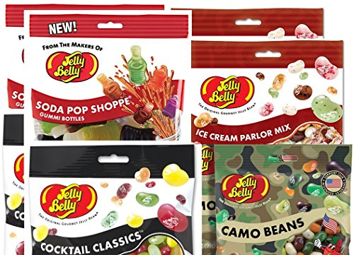 Bundle Lot of Jelly Belly: Camo Beans, Ice Cream Parlor Mix, Cocktail Classics and Soda Pop Shoppe, 1 Bags of Each (Total 4 Packs) (Different Flavored Jelly Beans compare prices)