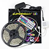 SUPERNIGHT (TM) IP65 Waterproof 5M/16.4 Ft RGB SMD 3528 300 Leds Color Changing Kit with Flexible LED Strip Light+ 44 key IR remote controller+12V 2A Power Supply