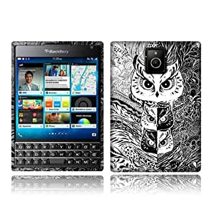 NextKin BlackBerry Passport Q30 Flexible Slim Silicone TPU Skin Gel Soft Protector Cover Case - Black White Mystical Owl