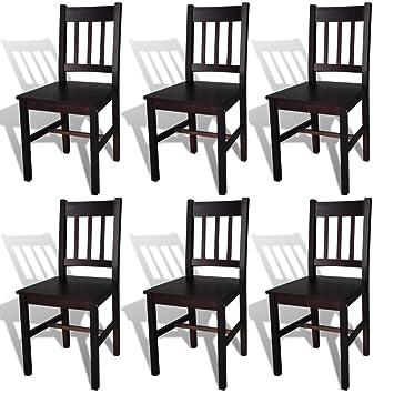 6 sillas marrones de comedor hechas de madera de pino