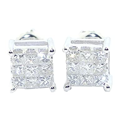 Earrings-MidwestJewellery Women's Princess Cut Diamond Earrings Studs Screw Back 10K Yellow Or White Gold 9 Diamond