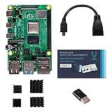 Raspberry Pi 4 Model B 4GB RAM with HDMI (Female) to Micro HDMI (Male) Adapter & USB (Female)-USB-C (Male) Adapter-Heatsink