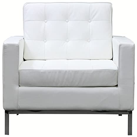 Modway Loft Leather Armchair in White