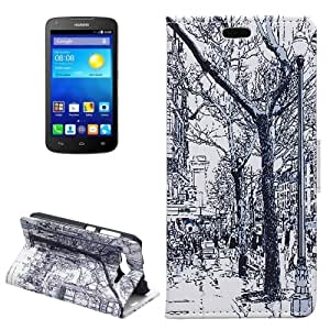 Crazy4Gadget Street Trees Pattern Horizontal Flip Leather Case with Card Slots & Wallet & Holder for Huawei Ascend Y520