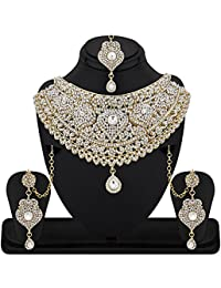 REEVA EXCLUSIVE SEMI BRIDAL CHOKER NECKLACE SET WITH AUSTRIAN DIAMOND