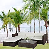 POLY RATTAN Lounge Braun Gartenset Sofa Garnitur Polyrattan Gartenmöbel