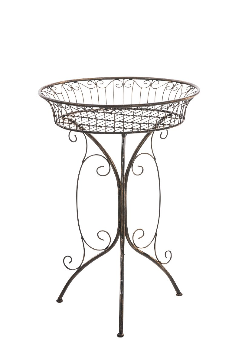 CLP Blumentisch / Beistelltisch MARGO, rund Ø 40, Metall (Eisen), schöne Verzierungen, nostalgisches Design, Höhe 72 cm, FARBWAHL bronze
