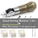 DIY Leather Sewing Tool Awl Leather Hand Sewing Machine Waxed Thread for Leather Craft Edge Stitching Belt Strips Shoemaker Tools, Style A & White Thread3 & Spare Needle2 (Color: Style A & White Thread *3 & Spare Needle *2)
