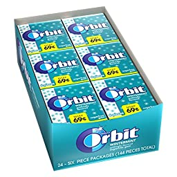 Orbit Wintermint Sugarfree Gum, (Pack of 24)