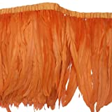 Sowder Rooster Hackle Feather Fringe Trim 10-12inch in Width Pack of 1 Yard(Orange) (Color: Orange)