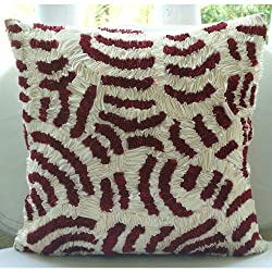Ruby Ripples - Decorative Pillow Covers - Silk Pillow Cover Embroidered with Satin Ribbons