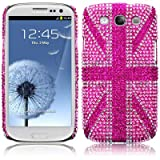 Samsung Galaxy S3 i9300 Pink Union Jack Diamante Case / Cover / Shell / Shield PART OF THE QUBITS ACCESSORIES RANGEby Qubits