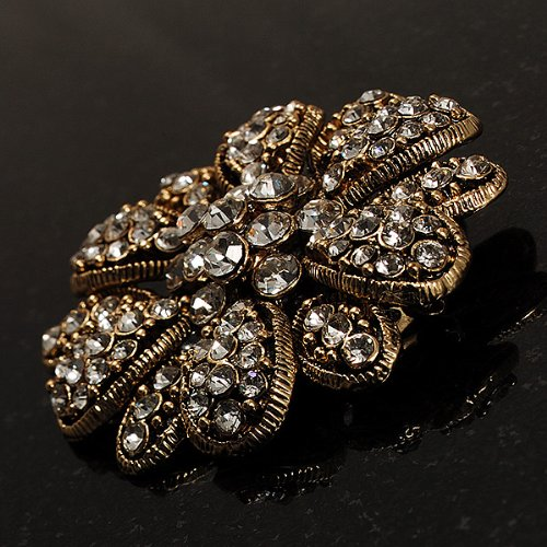 Vintage Swarovski Crystal Floral Brooch (Antique Gold) 5