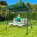 Relaxdays Hollywoodschaukel gepolsterte Auflage grün-beige, schwenkbares Sonnendach von Relaxdays auf Gartenmöbel von Du und Dein Garten