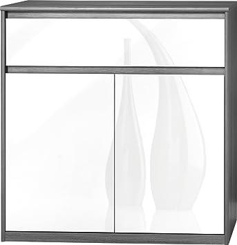 CS Schmalmöbel 75.185.074/23 Grifflose Kommode Soft Plus Smart Typ 23, 45 x 106 x 110 cm, silbereiche/weiß hochglanz