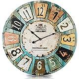 """Orologio da parete tipo legno stile vintage """"Chateau"""" di 60 centimetri di diametro; caselle in rilievo"""
