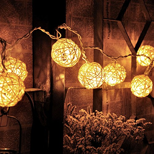 [Room 20 White Rattan Ball LED Light String Fairy Lamp Wedding Party Xmas Décor] (Banshee Costume Ideas)