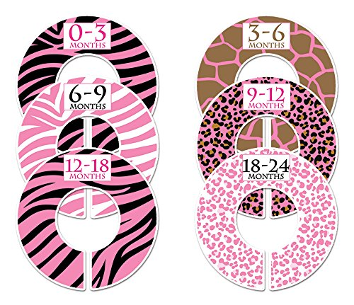 #C118 Wild Girl Baby Closet Dividers Clothes Organizers Set Of 6 Zebra Pink