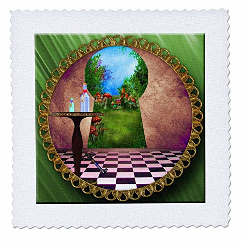 3dRose qs_128860_4 Through The Keyholes Alice in Wonderland Art Checkered Floor Bottle of Magic Water Quilt Square, 12 by 12-Inch (Alice In Wonderland Quilt compare prices)