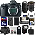 Canon EOS 6D Digital SLR Camera Body with 24-70mm f/2.8 L II & 70-300mm IS Lenses + 64GB Card + Case + Flash + Grip + Battery & Charger Kit