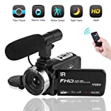 Video Camera Camcorder 1080P Digital Camera Night Vision YouTube Vlogging Camera with External Microphone and Remoter (Color: V3A)