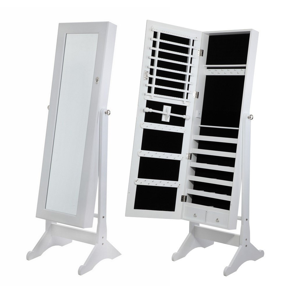 Homegear Mirrored Jewelry Cabinet with Stand White