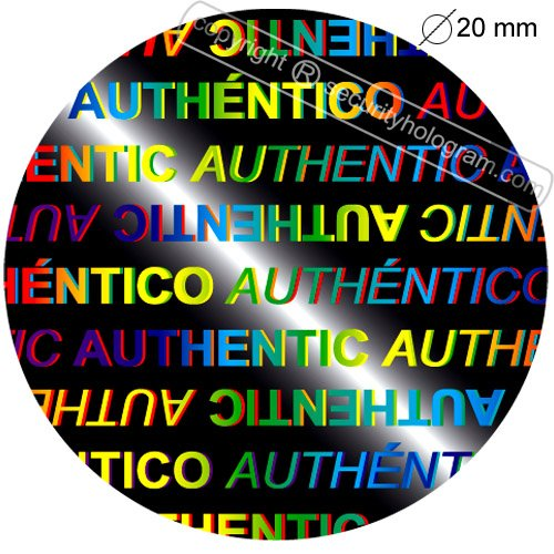 "84 3D English Spanish Protective Security Holograms Stickers Holograms ""Authentic, Authentico"" Tamper Evident Circle .79""(20 mm)"
