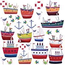 RoomMates RMK1134SCS Ship Shape Peel & Stick Wall Decals, 34 Count