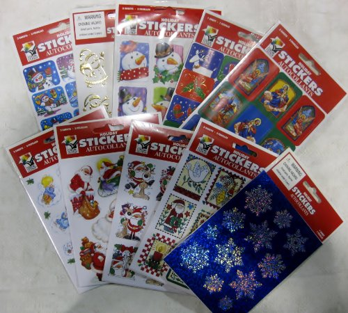 300 Holiday Stickers! Ten Assorted Thirty Packs