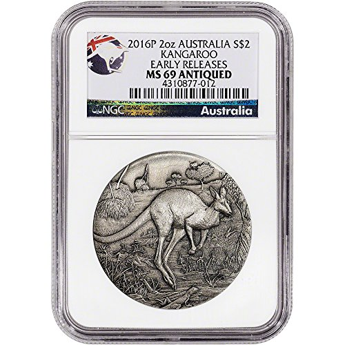 2016 AU Australia Silver Kangaroo (2 oz) Antiqued Finish Early Releases $2 MS69 NGC