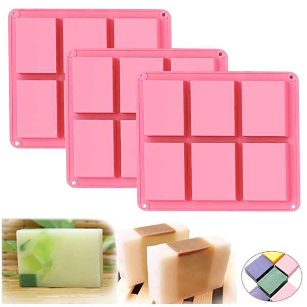 Ozera 6 Cavities Silicone Soap Mold (3 Pack), Baking Mold Cake Pan, Biscuit Chocolate Mold, Ice Cube Tray (Color: 3 Pack (Pink), Tamaño: One Size)