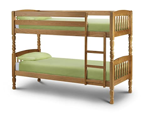 Lincoln 76cm Single Bunk Bed Solid Pine Antique Finish Medium Wood Tone