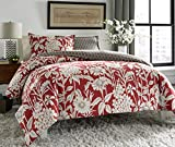 City Scene Cecilia Reversible Comforter Set, Red, King