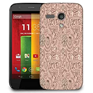 Snoogg Love Birds Cream Pattern Designer Protective Phone Back Case Cover For Motorola G / Moto G