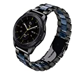 V-MORO for Gear Sport Bands/Galaxy Watch 42mm Band, 20mm Black Stainless Steel Replacement Strap with Blue Resin Bracelet for Samsung Gear Sport Smartwatch R600/Galaxy Watch 42mm R810 (Color: Black+Blue)