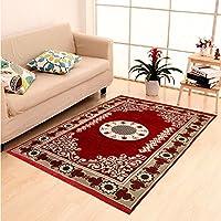 HOME ELITE Maroon Ethnic Design Velvet Touch Carpet ( 140x200 cm)