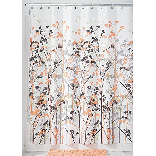 Interdesign Freesia Shower Curtain 72 X 72 Inch Coral Gray Office Supplies Paper Handling Hole