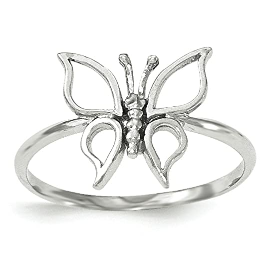 14ct White Gold Polished Butterfly Ring