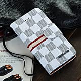 Luxury Brand Designer White Checks Leather Cases Wallet Flip Covers for Apple iPhone 5 5G 5S i5 Checker Checkered Plaid Cheap High Quality Men Girls Reviews