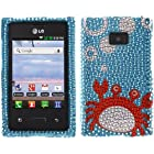 Fincibo (TM) Bling Crystal Rhinestones Hard Snap On Protector Cover Case For LG Optimus Logic L35g Dynamic L38c, Blue Red Crab