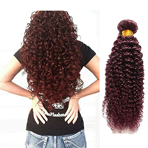 Jaycee Hair 7a Brazilian Virgin Hair Curly Wave Weft 4 Bundles 100% Human Remy Hair Extensions Color #99J (100+/-5g)/pc(20 22 24 24, 99j curly) (Red Wet And Wavy Hair compare prices)