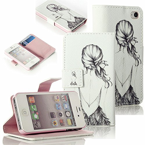 Mylife Antique White And Baby Pink Silhouette - Sketch Design - Textured Koskin Faux Leather (Card And Id Holder + Magnetic Detachable Closing) Slim Wallet For Iphone 5/5S (5G) 5Th Generation Smartphone By Apple (External Rugged Synthetic Leather With Mag