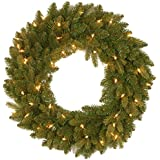 """National Tree 24-Inches """"Feel-Real"""" Avalon Spruce Wreath with 50 Clear Lights (PEAV7-300-24W-1)"""