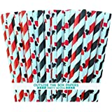 Outside the Box Papers Red and Black Striped and Card Themed Paper Straw Combo-Party Supply Casino Night Card or Magic Party 100% Biodegradable-7.75 Inches-Pack of 100
