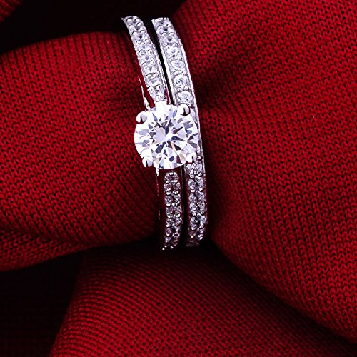 Jewelrypalace Women's 1ct Cubic Zirconia Anniversary Bridal Wedding Band Engagement Ring Sets 925 Sterling Silver Size 8